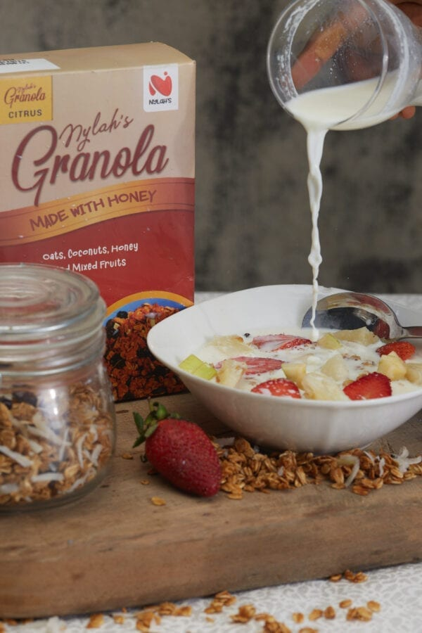 citrus granola flavour with pouring of milk - nylahs