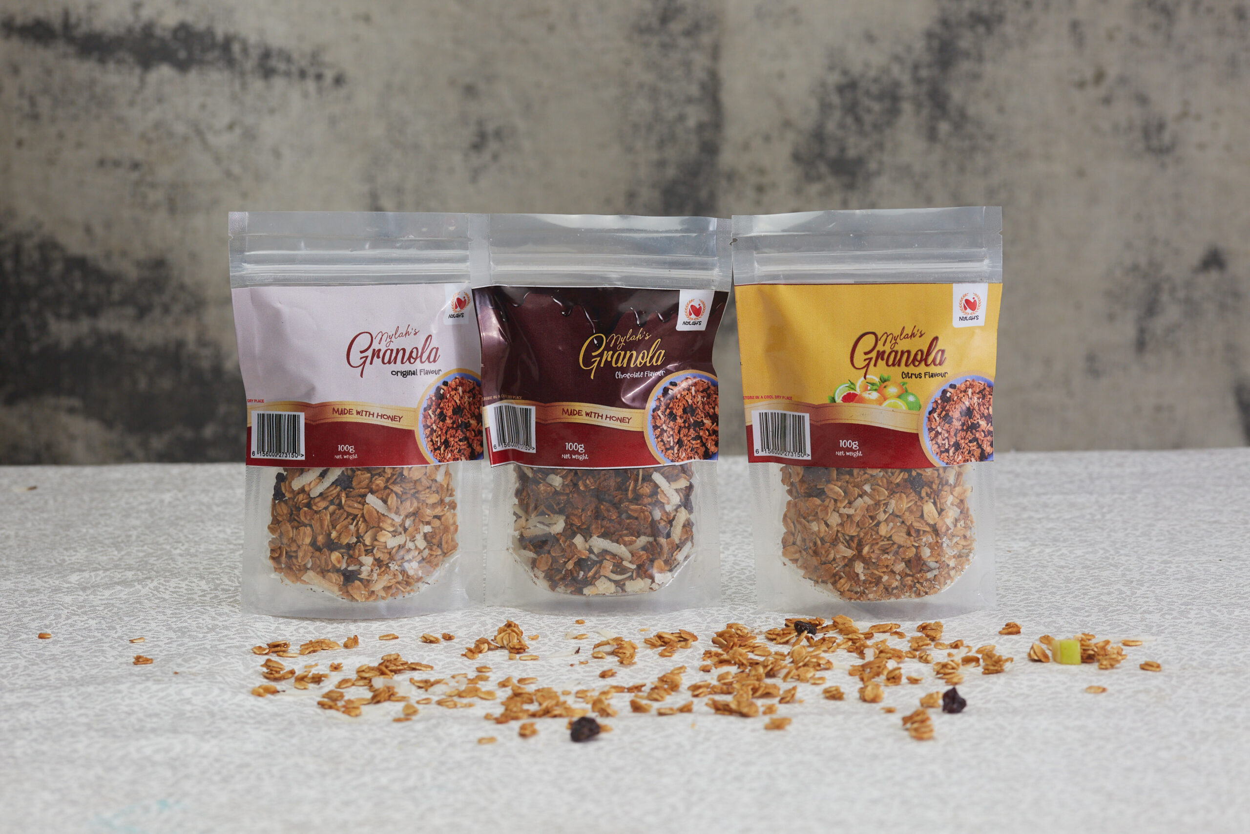 granola 3 flavours in nylon bag packaging - nylahs